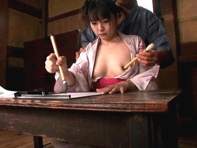 【エロ動画】古民家で一緒に暮らす着物美少女(つぼみ)にイタズラしまくる日々!筆で乳首をサワサワしたり、フェラチオご奉仕で口内射精してみたり…