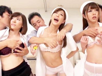 【エロ動画】「時間よ止まれ!」相沢恋、神波多一花、芦名ユリアたちがナース&女医をしている病院で時間を止めて、医者も患者も入り乱れた中出しファック!