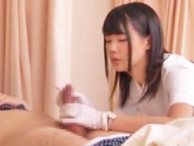 【エロ動画】天使のように可愛いスレンダー美少女のナースが直立不動の患者たちを次々と手コキでご奉仕…オナニーできない可哀想な勃起チンポを性処理する特別部門