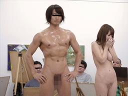 【エロ動画】ヌードモデルに選ばれた巨乳お姉さんがマンコとアナルを開いて羞恥プレイ…そのまま男のチンポを挿入しバックのスローピストンで精子を中出しする芸術の極み