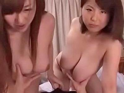 【エロ動画】大迫力の爆乳を持つ二人の痴女が3Pセックスで大暴れ!ギンギンに勃起したチンポをフェラチオ&パイズリで刺激して乳揺れしながら騎乗位杭打ちピストン!