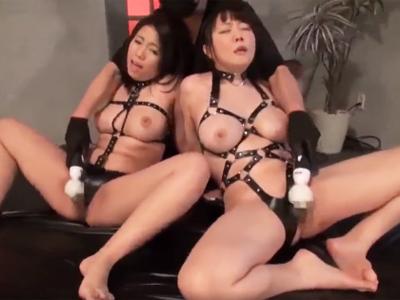 【エロ動画】ボンデージで強調された巨乳娘×2と激エロファック!チンポを求めて身体をくねらす姿に勃起不可避!?