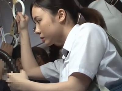【エロ動画】可愛い巨乳JKがバスでクズ痴漢師にレイプされる!抵抗虚しくパンティの中を手マンでかき乱され強制バックピストンでマンコを犯されまくって絶望…